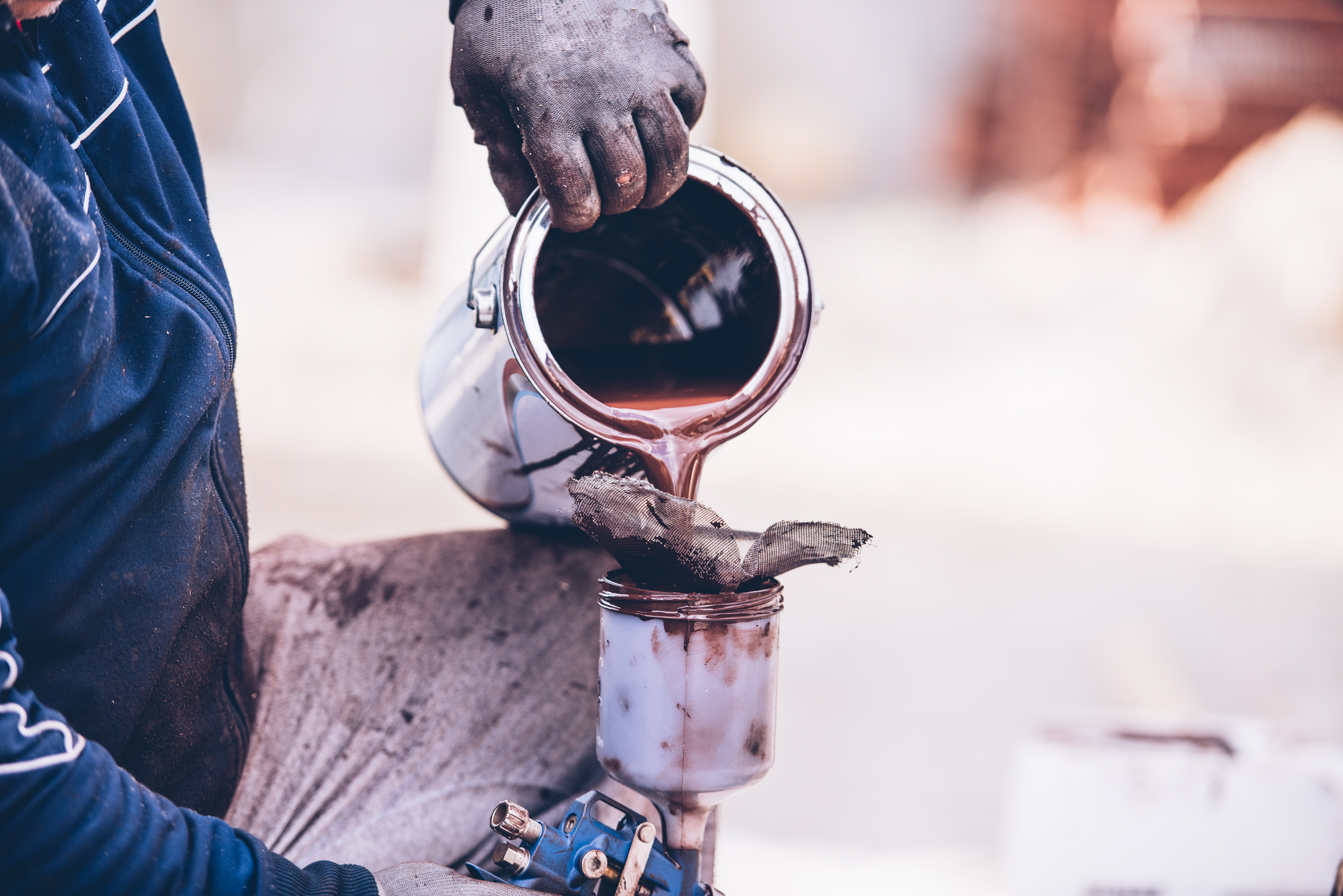 How To Prepare Paint For Spray Gun Part - 16: Industrial Worker Preparing Paint For Spraying With Spray Gun. Posted On 12  January 2018 Full Size ...